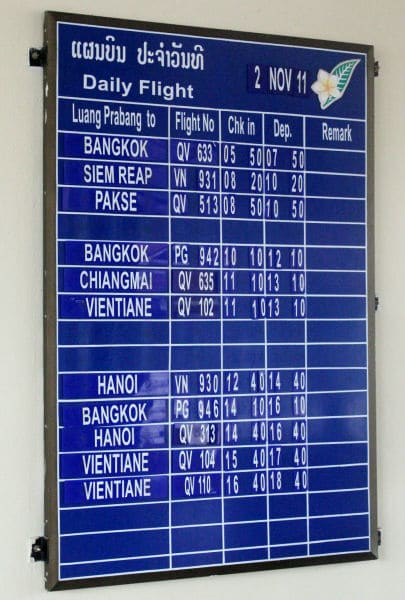 The flight schedule from Luang Prabang International Airport