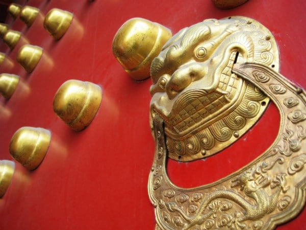 golden Chinese dragon on a red door