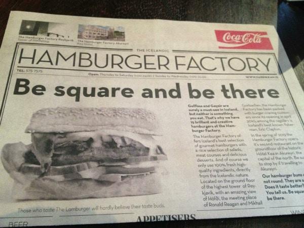 Hamburger Factory Menu