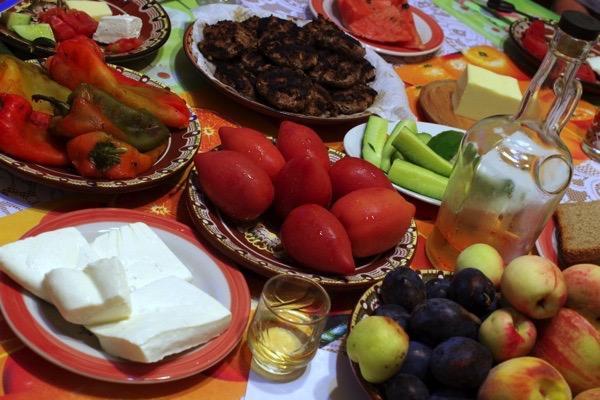 Bulgarian Table Full of Food