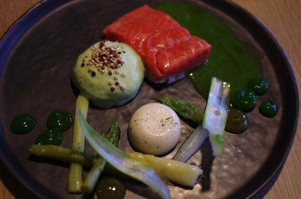 Salmon with green veggies