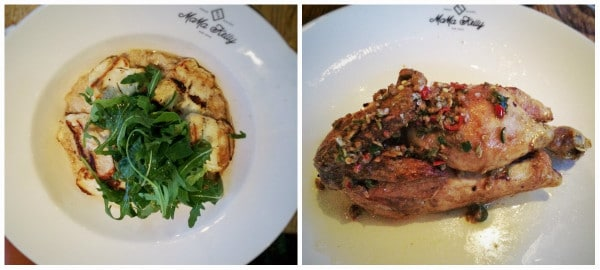 """Left: Risotto with Rucula and grilled Halloumi, Right: 1/2 """"spicy"""" rotisserie chicken. (Photo credit: Zoé Albrecht)"""