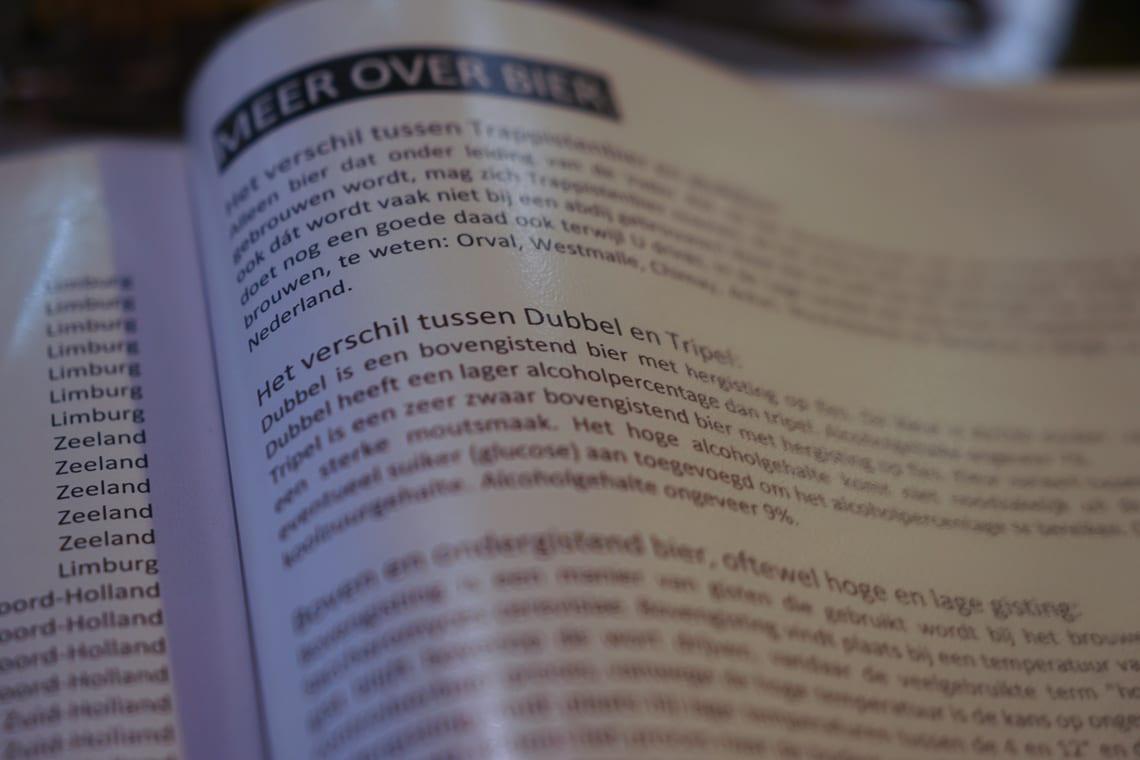 The beer menu is an interesting read in De Paas.MenuBeer DePaas