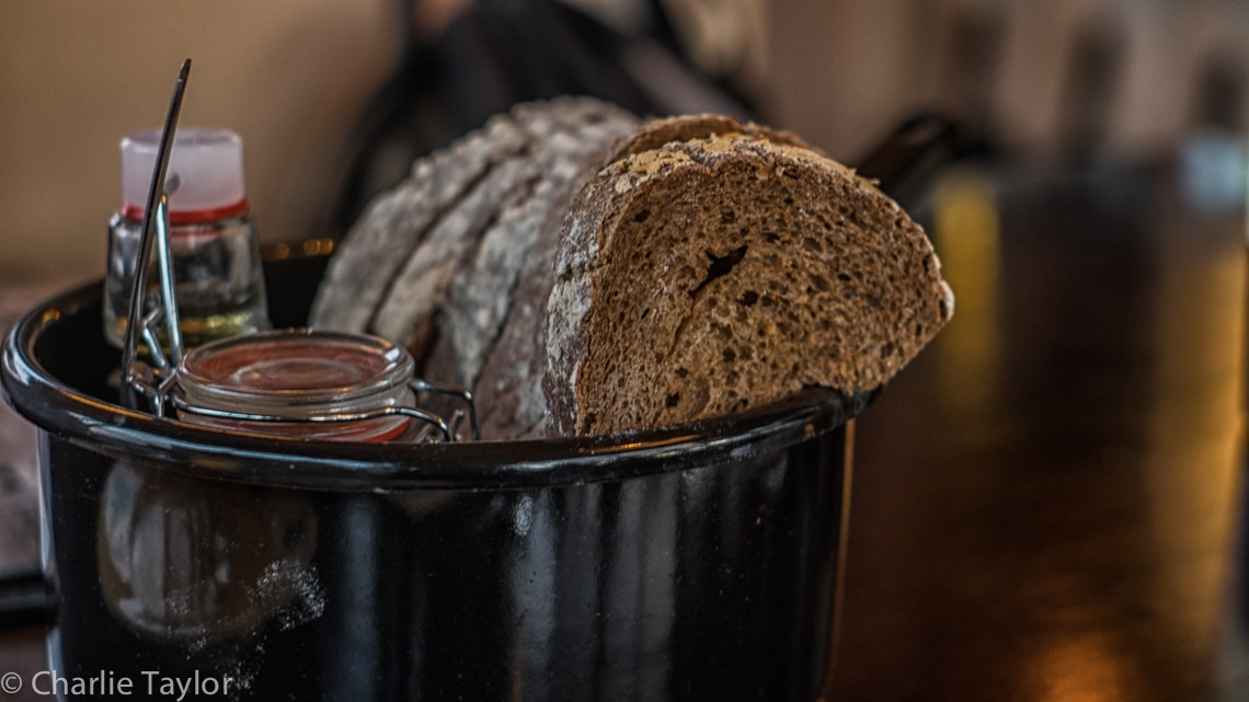 Freshly Baked bread with house smoked olive oil and likkepot
