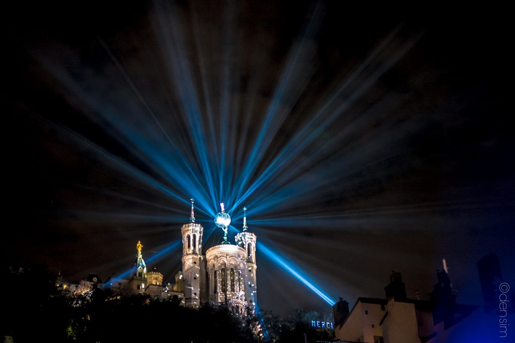 The Basilic of Fourvière is shining like a star.