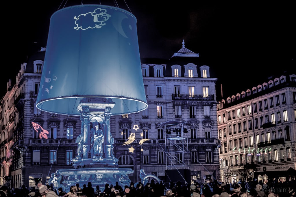 The main statue on Place des Jacobins is transformed into a giant lamp. (photo credit: Denis Simon)