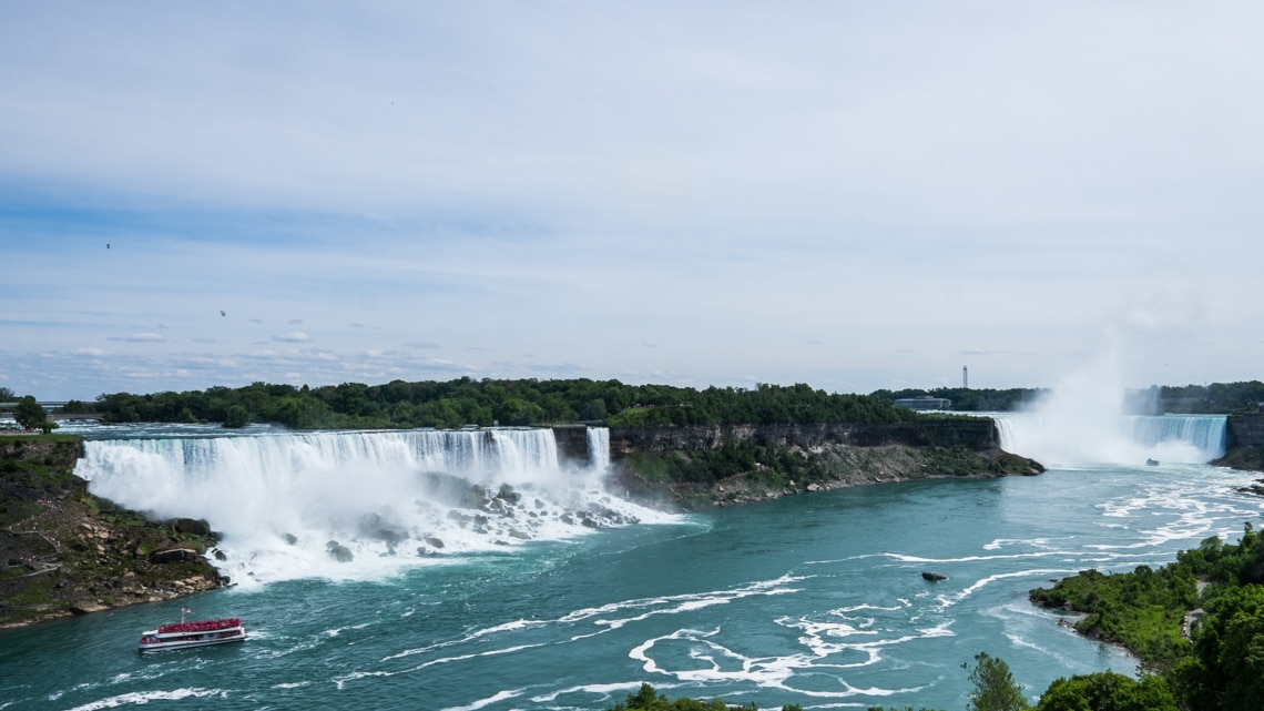 The American Falls and The Horseshoe Falls collectively know as Niagara Falls