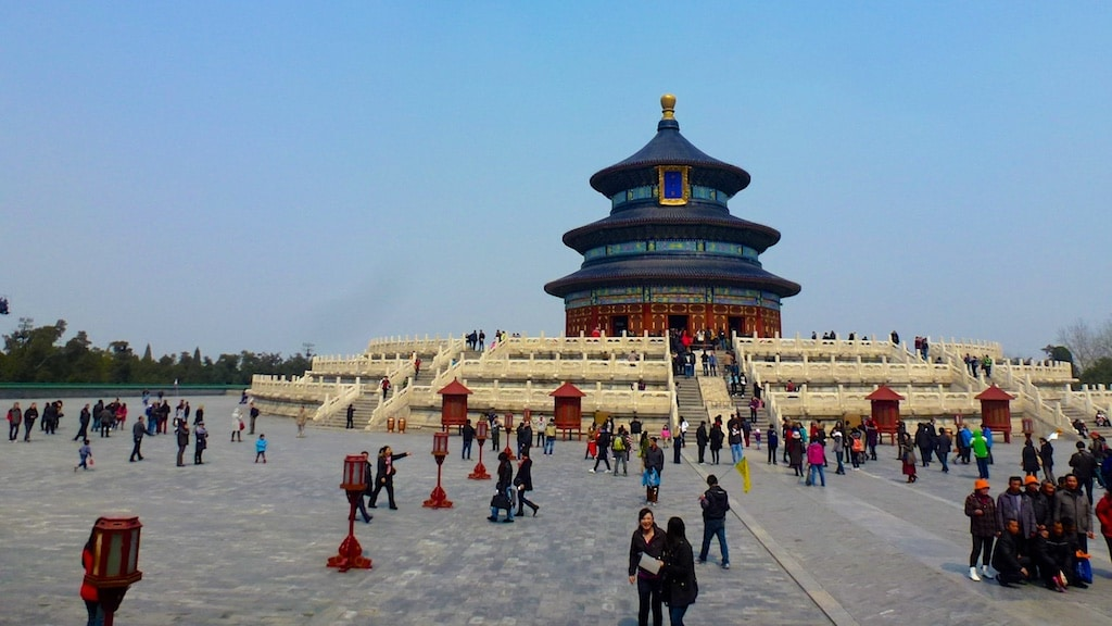 The Temple of Heaven is not to be missed with its blue roofs and red walls. (Photo Credit: Christine Cognieux)