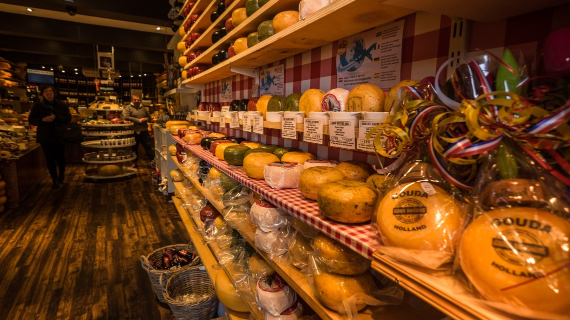 The welcome interior of 't Kaashuis, Gouda where over 50 cheeses are available