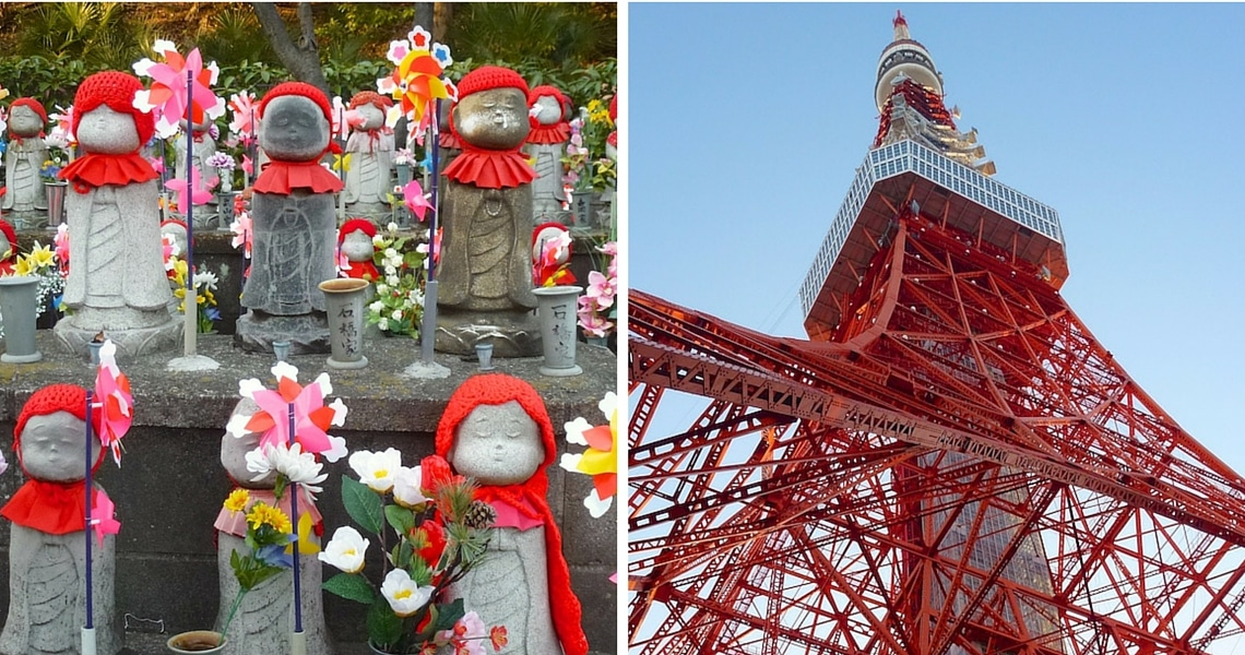 The elegant Tokyo tower is watching over the Jizo statues of the Zojo-ji children cemetery. (photo credit: Christine Cognieux)
