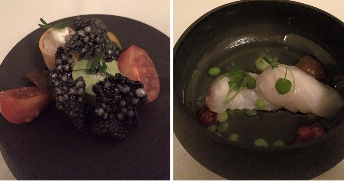 The amuse-bouche of raw monk fish with a crispy black garlic cookie and a basil espuma was exquisite. (Photo credit: Christine Cognieux)