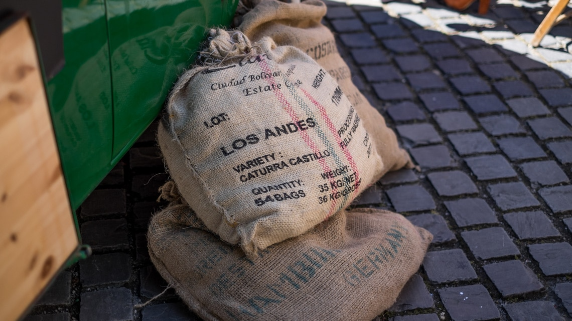 Sacks of coffee waiting to be consumed, coffee culture may have changed but the main ingredient remains the same.
