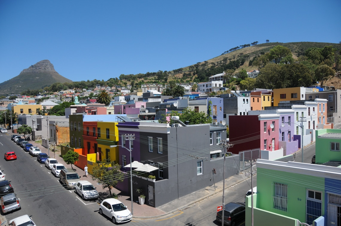 Bird view at the Rose street in the beautiful Bo-Kaap quarter of Cape Town. (Photo Credit: Jana Teneva)
