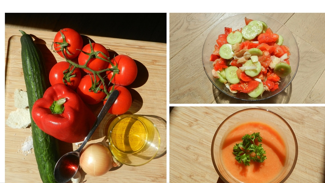 Ingredients to cook a gazpacho, maceration 12 hours, blender and ready! (Photo Credit: Françoise Catherin)