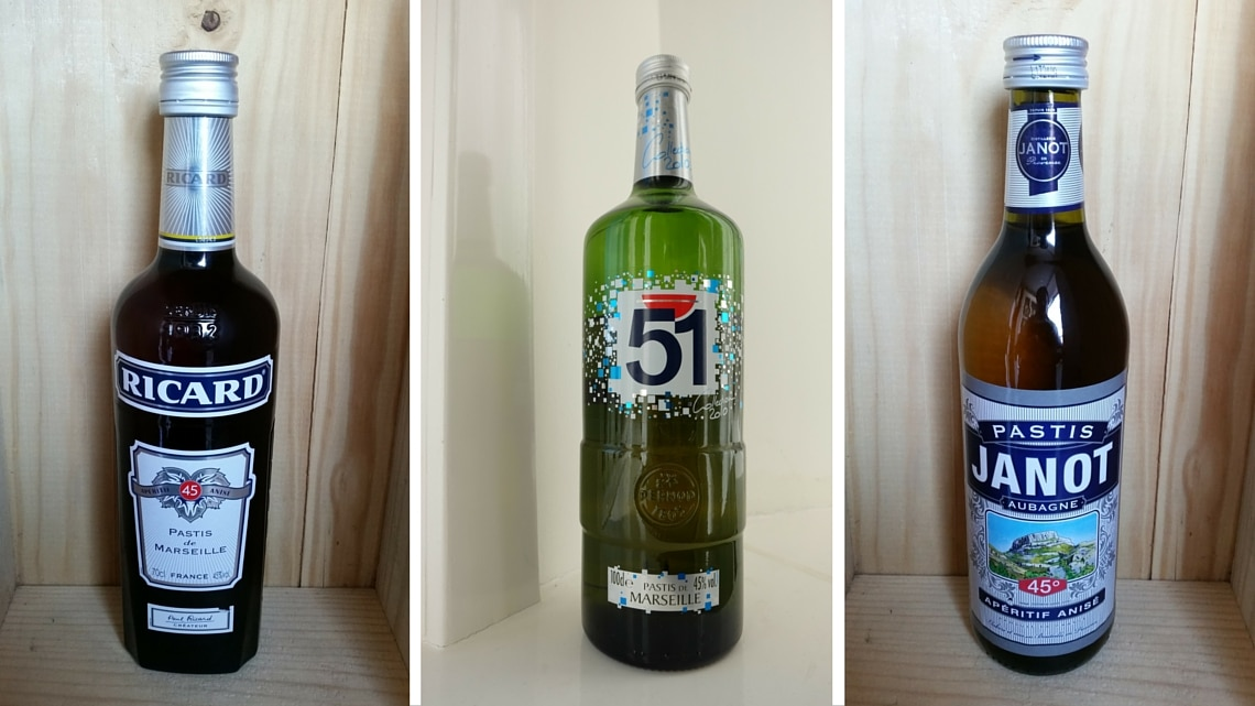 Pastis bottles of well-known brands. (Photo Credit: [from left to right] Pastis Ricard 45% 70 cl by Flickr User farehamwine, Pastis Janot, Provence 45% by Flickr User farehamwine, Françoise Catherin)