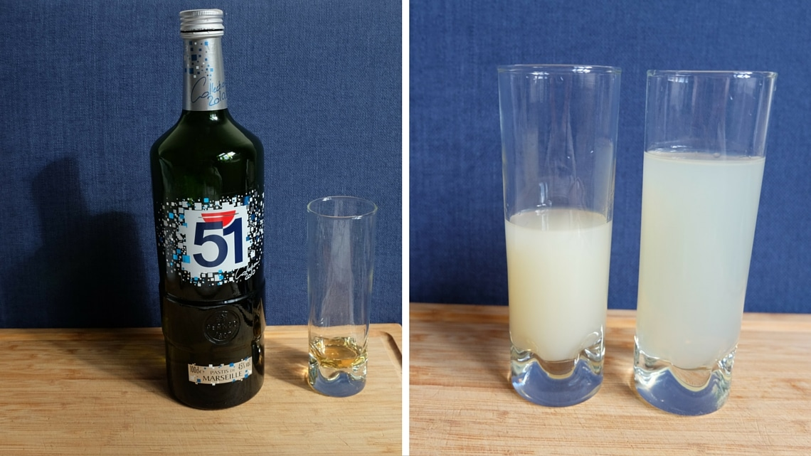 2cl of pastis without water, with 5 and 7 volumes of water (Photo Credit: Françoise Catherin)