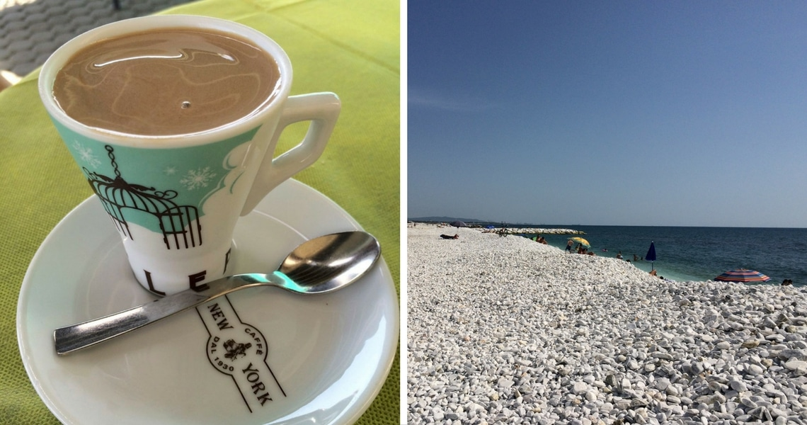 I still can't get over the sweet taste of Crema al Caffè while sitting across the beautiful beach in Marina di Pisa. (Photo credit: Christine Cognieux)