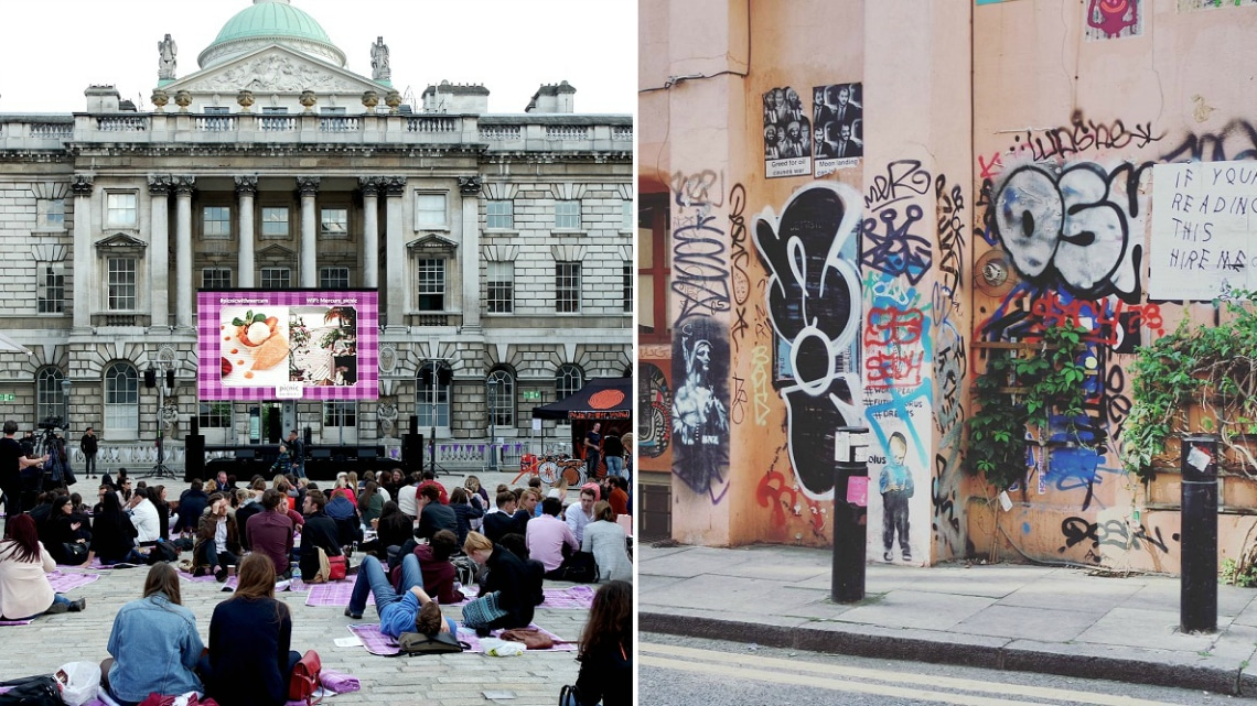 You'll find unique buildings, street art and tucked away eateries in the side streets of Central London. (Photo credit: Milly Youngman)