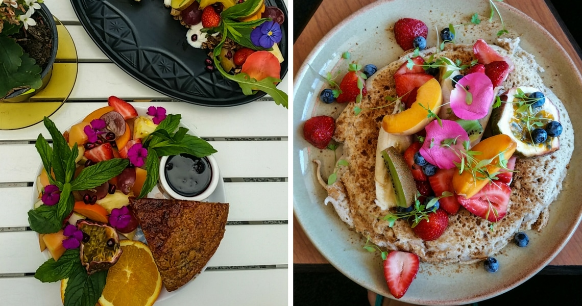 The Banana bread from Flora and Fauna and the banana and coconut buckwheat pancake from Little Bird Cafe are as pretty as delicious. (Photo credit: Healthy Fit Traveller)