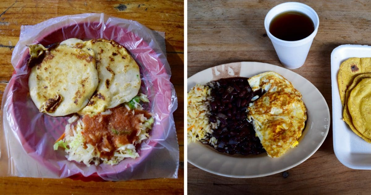 Pupusas, corn tortillas, are a basic of the food from El Salvador. (Photo credit: DIY Travel HQ)
