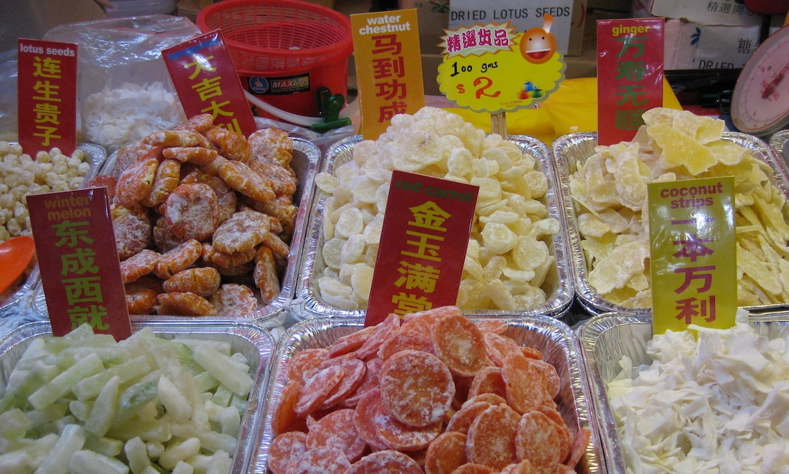 Traditional candied fruit and vegetables for the Chinese New Year.