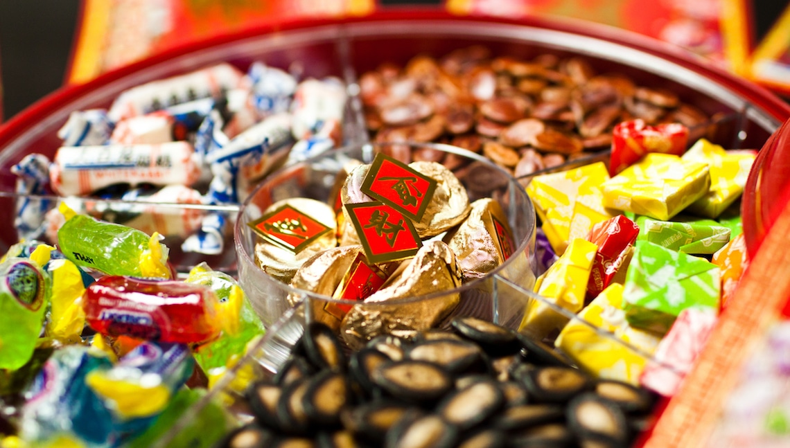 A typical Chinese New Year candy box.