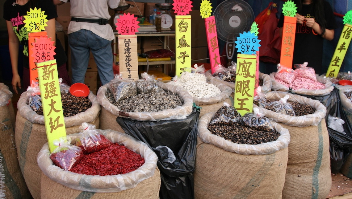 Bagfuls of seeds for Chinese New Year.