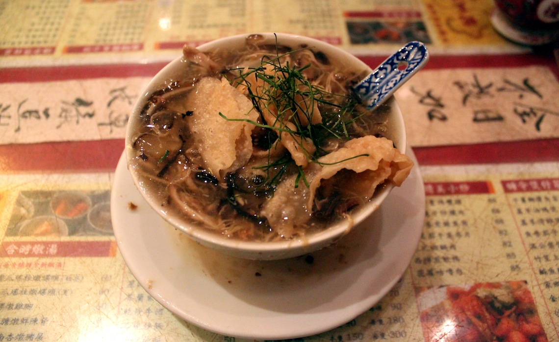 A steaming bowl of snake soup.