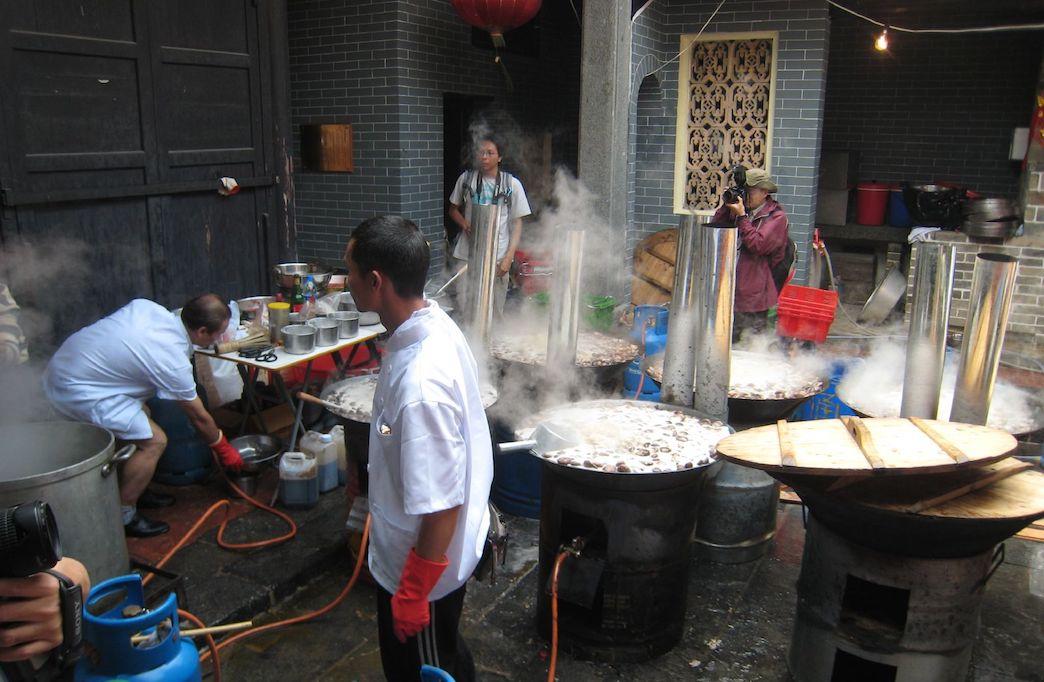 Behind the scenes poon choi preparation.