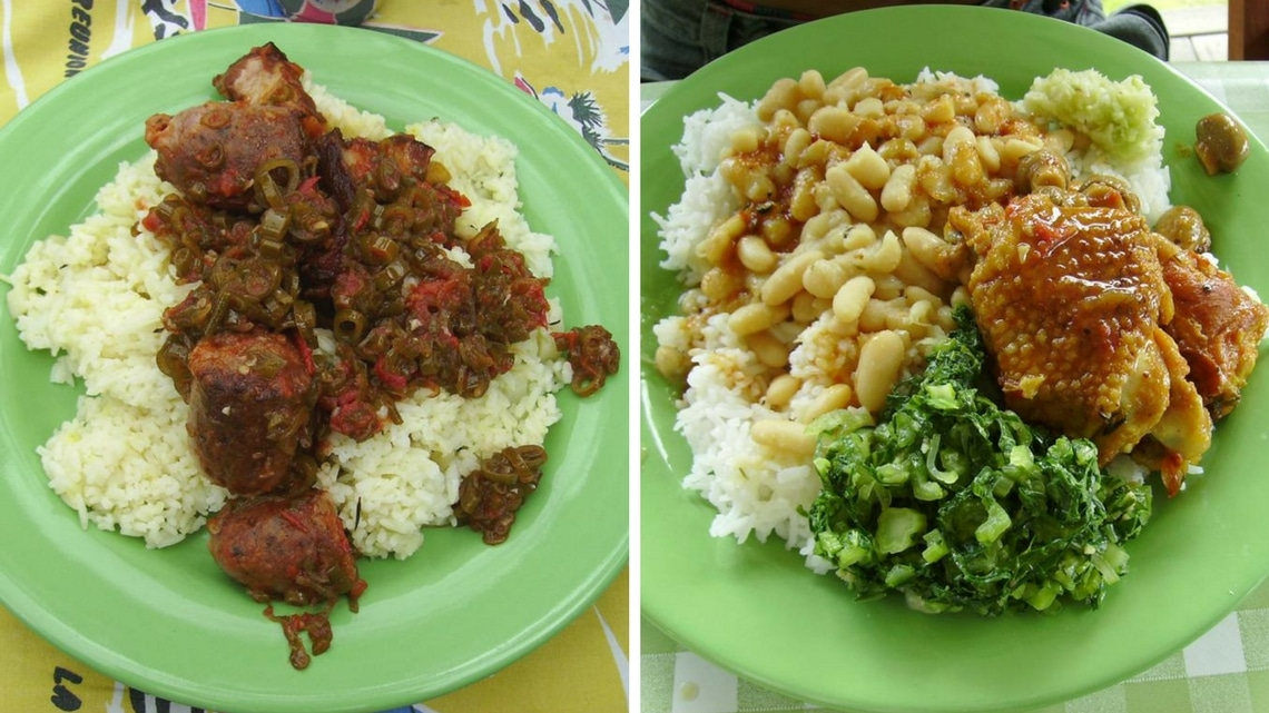 Which one would you eat first ? (Photo Credit: rougail boucané / Carri Poulet aux champignos, riz, grains blanc, rougail mangue, bred ! by Flickr User gameboy974, original image has been adapted)