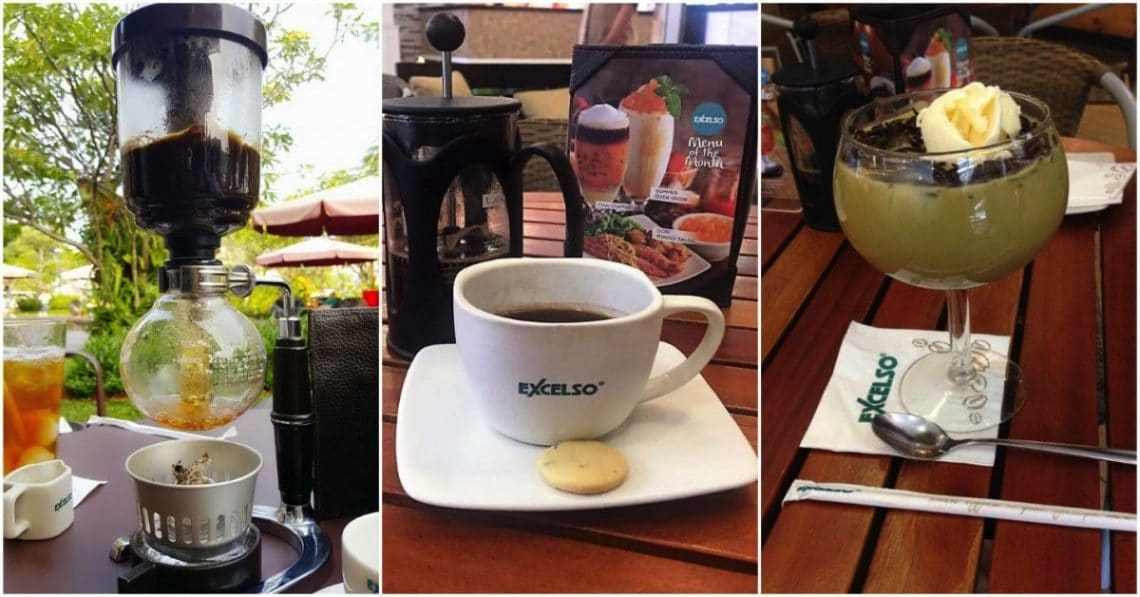 Syphon brew Luwak coffee, French Press Kalosi Toraja Coffee, and Avocado Coffee at Excelso Coffee