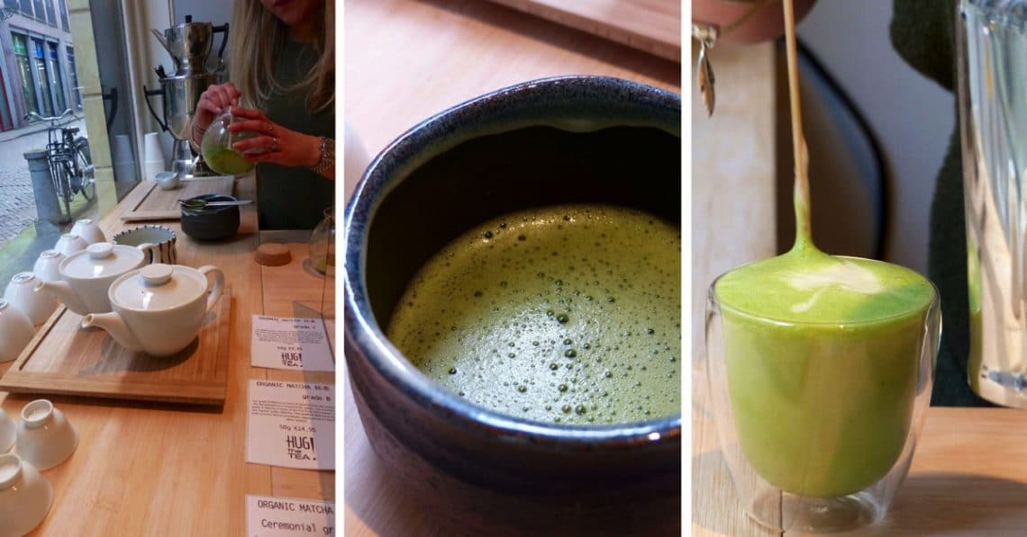 Matcha tea and matcha latte photo collage